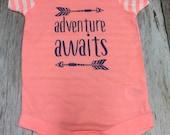 """Girls """"Adventure Awaits"""" Onesie- Baby Girl- B..."""