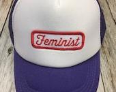 "Girls Toddler/Kid Purple Trucker Hat with ""Feminis..."