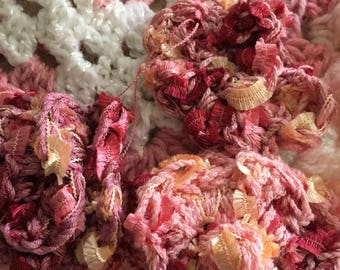 Pink & White Granny Square Baby Blanket Embellished with Crocheted Flowers