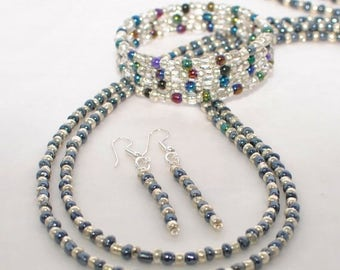 Gunmetal Necklace Midnight Express - Necklace Earring Set - Beaded Necklace - Long Necklace -Beaded Bracelet -Boho Jewelry -Everyday Jewelry