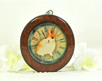 Wood Rabbit Jewelry Bunny Necklace Woody - Rabbit Pendant - Bunny Jewelry - Brown Bunny - Pet Rabbit - Nature Jewelry - Woodland Animal