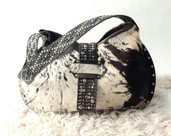 Hair on Hide Distressed Leather Bag with Turquoise Studded Strap