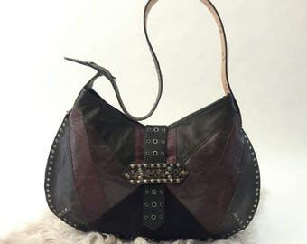 SALE  Recycled Leather Half Moon Shoulder Bag