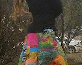 On Hold for Nicole Batik Hemp Patchwork skirt and Custom Patchwork Capris QualiTy M-L
