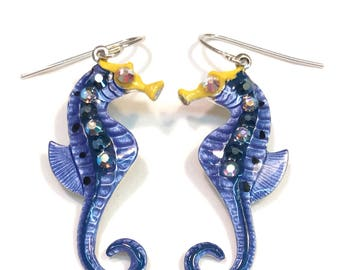 Seahorse Earrings Fun Hand Painted in Pearl Denim  Blue and Navy