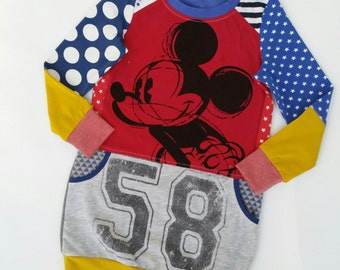 Size 6 (45 3/4 inch height) upcycled girls sweaterdress with print Mickey