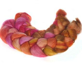 WENSLEYDALE SILK roving top handdyed spinning fibre 3.3 oz