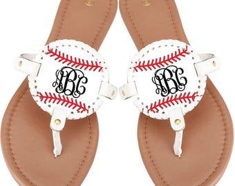 Baseball Softball Mom Sandals Flip Flops--Available NOW, no waiting!