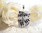 Music Pendant, Optional Necklace, Musician Jewelry, Black and White, Music Notes, Piano Player Gift, Trumpet Player Gift, polymer clay