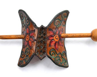 Butterfly Hair Stick Leather Hand Painted and Tooled