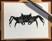 King Crab Note Card - Original Ink Drawing Print