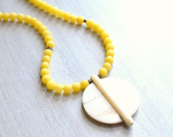 The Samantha- Bone Pendant and Yellow Matte Jade Chain Necklace