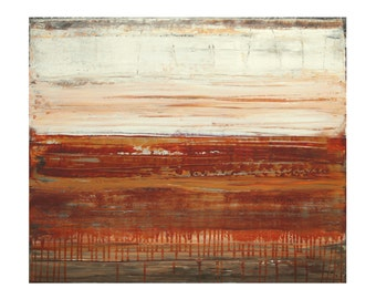 ORIGINAL Abstract Painting on Canvas in Warm Earth Tones, Sienna Bisque by Lisa Carney, Contemporary Landscape Art, Cream, Red Oxide, Brown