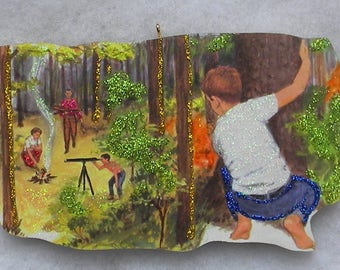 Boy Watching Family Camp Cook Glittered Wood Christmas Ornament Vintage Book Image