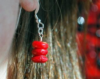 Sea bamboo gemstone drop earrings