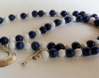 White Tridacna Necklace with Sodalite and  Sterling Silver Clasp, Smokeylady54