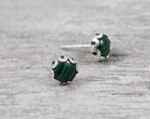 Malachite studs - Gemstone Stud Earrings - Gemstone Post Earrings - Green earrings - Stone Earrings