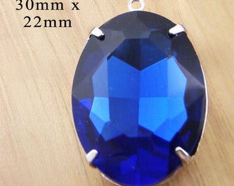 Sapphire Blue Framed Glass Pendant - 30mm x 22mm Oval - Silver or Brass Setting - Cobalt or Royal Blue - Oval Glass Bead - Jewelry Supply