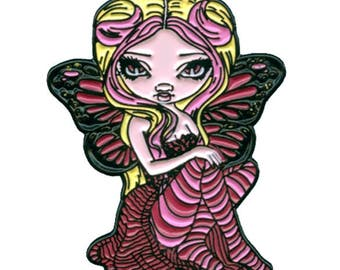 Pink Lightning Collectible Enamel Pin by Jasmine Becket-Griffith Art lapel pin button brooch big eye fairy lowbrow