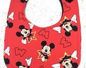 Mickey Mouse Baby Bib - infant - dribble bib - handmade - disney - baby boy - baby girl - baby shower gift