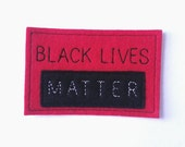 Black Lives Matter iron on patch in red, activist patch,  patches for jackets,  embroidered patch, felt patch,  iron on patches,DIY