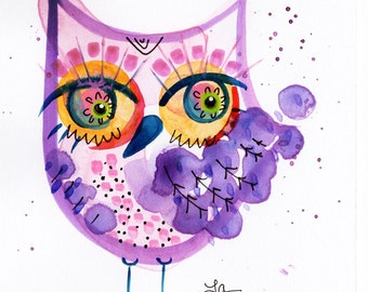 Owl Art original Pink and Purple bird Lauren Ingraham Illustration
