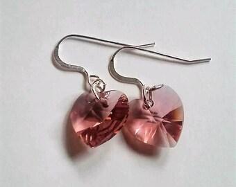 Blush Rose Swarovski Crystal Heart Earrings