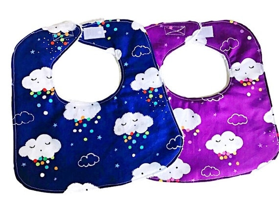 Blue Showery Clouds Baby Bib, Baby Boy Bib, Drool Bib, Infant Bib
