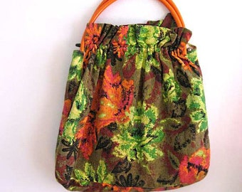 Vintage Barkcloth Bag, Orange, Green, Pink, Removeable Handles, Roomy, Work Bag, Cotton, Kitsch