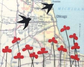 Chicago / 5 x 5 Map Painting / Map Art / Lake Michigan Art / Bird Art / Modern Decor / Rachel Austin Art / Modern Nursery