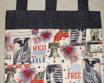 New Handmade Denim Walker Bag LIberty Bell Patriotic Flag Theme