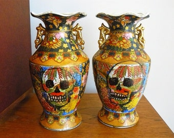 Skull vases hand painted  retro pair of Chinese porcelain vases recycled art mantlepiece decor display flowers