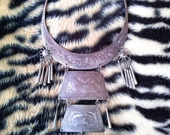 Vintage 1970s Necklace Hippie Statement Etched Metal HUGE 19.5 Inches