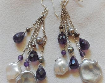 Keshi Pearls Amethyst Briolettes Sterling Dangle Cluster Earrings