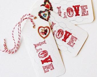 Original tag art, set of 3, Love, hearts, Valentine