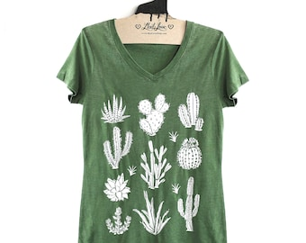 Fitted L-  Vintage Dye Green V-Neck Tee with Cactus Screen Print-
