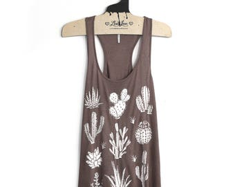 Large- Brown Slub Speckle Racer Back Tank with Cactus Screen print