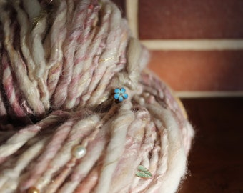 Handspun art yarn with real freshwater pearls, gem stones and handmade beads, Merino wool, silk, alpaca and linen, 4.8oz -- rose garden
