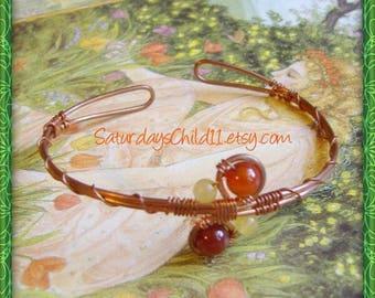 Carnelian Bracelet, Handmade Copper Jewelry, Handmade Copper Bracelet, Wire Wrapped Jewelry, Copper Jewelry, Carnelian Cuff Bracelet