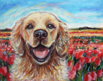 Custom Painted Dog Portrait Personalized pet artwork gift on canvas