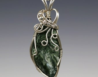 CLEARANCE. Seraphinite Pendant. Sterling Silver. Wire Wrapped. Genuine Gemstone. Sterling Silver Necklace. One of Kind. f09p004