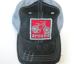 Distressed Trucker Hats - Bike Around Teal and Red on Gray hat