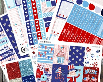 4th of July Weekly Kit, Summer Planner Sticker Set, Independence Day Stickers, for use in Erin Condren Life Planner™ or The Happy Planner