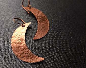 Crescent Moon Earrings - Copper