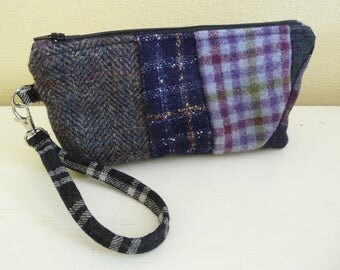 Plaid Purple Wool Clutch Wristlet Bag with card slots, Patchwork Clutch Bag, Cell Mobile Phone Purse