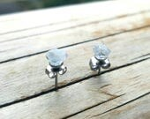 Angelic Connections - raw pale blue celestite gemstone surgical steel stud earrings