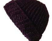 Spring Sale Eggplant Purple Sparkle Chunky Knit Hat Metallic Slouch Toque Ski Hat Men Women Gift Unisex AIDAN - Ready to Ship Autumn Winter