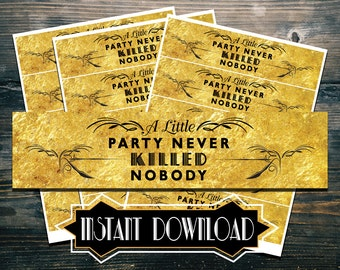 Instant Download - GOLD Gatsby Themed Water Bottle Labels (2in x 8.25in Labels)