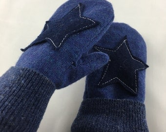 Wool Star Mittens-Blue-Toddlers-Eco Friendly