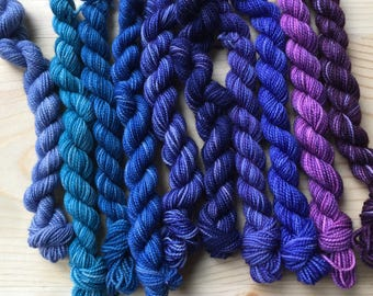 Blues and purples - 10 mini skeins